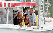 United States President Barack Obama, first lady Michelle Obama and daughter Sasha tour St Andrews Bay on the Bay Point Lady, Sunday, August 15, 2010 In Panama City Beach, Florida. The First Family is visiting the area to help promote tourism and check up on cleanup efforts from the aftermath of the Deepwater Horizon Oil spill. .Credit: Mark Wallheiser - Pool via CNP