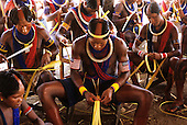 Bacaja village, Amazon, Brazil. Young men making headbands for the hornets' nest initiation ceremony; Xicrin tribe.