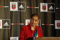 Congresswoman Eleonor Holmes Norton addresses the press at the presentation of DC United Holdings as the new group that owns and controls the operating rights for DC United of Major League Soccer, January 8, 2007.