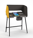 Los Angeles County Voting Booth (Prototype; to be produced for 2020 election), 2015; Designed by IDEO (Palo Alto, California, USA, founded 1991), Digital Foundry (Tiburon, California, USA, founded 1992), Cambridge Consultants (Cambridge, England, UK, founded 1960); Lent by IDEO. Photo courtesy of IDEO.