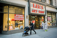 Lee's Art Shop in midtown New York announces its closing sales on Sunday, April 24, 2016. The landmark building, sold to Thor Equities, is across from the site of a future condo containing the city's first Nordstrom.   (© Richard B. Levine)
