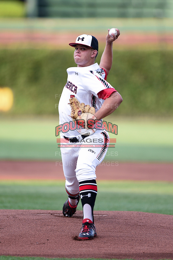 Corey Zangari (9) of Carl Albert High School in Oklahoma City, Oklahoma during the Under Armour All-American Game on August 16, 2014 at Wrigley Field in Chicago, Illinois.  (Mike Janes/Four Seam Images)