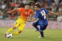 GETAFE, ESPANHA, 15 SETEMBRO 2012 - CAMP. ESPANHOL - GETAFE X BARCELONA - Xavi Torres (E) jogador do Barcelona durante lance de partida contra o Getafe em jogo valido pela 4 rodada do campeonato espanhol em Getafe na Espanha, neste sabado. O Barcelona venceu por 4 a 1 e se mantem na lideranca. (FOTO: ALFAQUI / BRAZIL PHOTO PRESS).