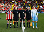 Regan Slater of Sheffield Utd , assistant Jack Forder Referee Sam Mulhall, assistant Benjamin Stott and Tom Bayliss of Coventry during the Professional Development League play-off final match at Bramall Lane Stadium, Sheffield. Picture date: May 10th 2017. Pic credit should read: Simon Bellis/Sportimage
