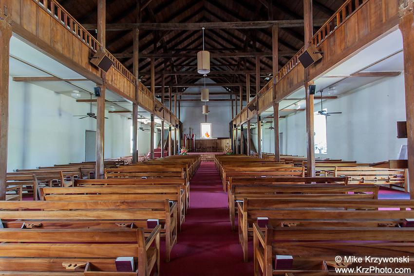 Inside of Mokuaikaua Church, Kailua-Kona, Big Island, Hawaii