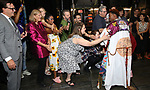 Justin Prescott with Donovan Leitch, Jeremy Kushnier, Bonnie Mulligan and cast during the Broadway Opening Night Performance Actors' Equity Legacy Robe honoring Justin Prescott at the Hudson Theatre on July 26, 2018 in New York City.