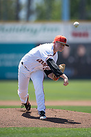 San Jose Giants starting pitcher Logan Webb (23) delivers a pitch to the plate during a California League game against the Lancaster JetHawks at San Jose Municipal Stadium on May 13, 2018 in San Jose, California. San Jose defeated Lancaster 3-0. (Zachary Lucy/Four Seam Images)