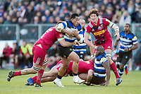 Anthony Perenise of Bath Rugby takes on the Harlequins defence. Aviva Premiership match, between Bath Rugby and Harlequins on November 25, 2017 at the Recreation Ground in Bath, England. Photo by: Patrick Khachfe / Onside Images