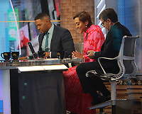 February 13, 2020 Michael Strahan, Robin Roberts, George Stephanopoulos at Good Morning America in NewYork.February 13, 2020. Credit:  RW/MediaPunch