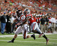 Virginia Tech Hokies fullback Sam Rogers (45) scores a touchdown against Ohio State Buckeyes cornerback Armani Reeves (26) quarter at OhioStadium September 6, 2014. (Dispatch photo by Eric Albrecht)