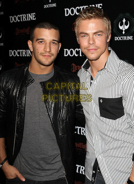 MARK BALLAS & DEREK HOUGH .Doctrine Clothing and Devotion Vodka Launch held at Sky Bar at Boudoir, West Hollywood, CA, USA, .12th October 2010..half length black leather jacket grey gray t-shirt hand in pocket white striped pinstripe shirt .CAP/ADM/KB.©Kevan Brooks/AdMedia/Capital Pictures.