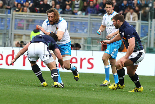 27.02.2016. Stadio Olimpico, Rome, Italy. RBS Six Nations Championships. Italy versus Scotland. FURNO JOSHUA tackled by Alasdair Dickinson
