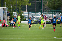 Kansas City, MO - Saturday June 17, 2017: Shea Groom, Carson Pickett, Alexa Newfield, celebrate, celebration during a regular season National Women's Soccer League (NWSL) match between FC Kansas City and the Seattle Reign FC at Children's Mercy Victory Field.