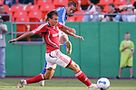 July 1 2007:  Davy Arnaud (22) of the Wizards takes a shot on goal as Chris Pozniak (l) of Toronto FC attempts to stop him.  The MLS Kansas City Wizards tied the visiting Toronto FC 1-1 at Arrowhead Stadium in Kansas City, Missouri, in a regular season league soccer match.
