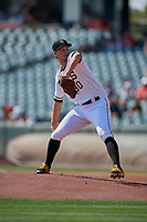 Salt Lake Bees starting pitcher Alex Klonowski (30) delivers a pitch to the plate against the Fresno Grizzlies at Smith's Ballpark on September 4, 2017 in Salt Lake City, Utah. Fresno defeated Salt Lake 9-7. (Stephen Smith/Four Seam Images)