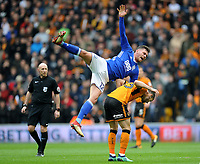 Birmingham City's Harlee Dean is fouled by Wolverhampton Wanderers' Leo Bonatini<br /> <br /> Photographer Ashley Crowden/CameraSport<br /> <br /> The EFL Sky Bet Championship - Wolverhampton Wanderers v Birmingham City - Sunday 15th April 2018 - Molineux - Wolverhampton<br /> <br /> World Copyright &copy; 2018 CameraSport. All rights reserved. 43 Linden Ave. Countesthorpe. Leicester. England. LE8 5PG - Tel: +44 (0) 116 277 4147 - admin@camerasport.com - www.camerasport.com