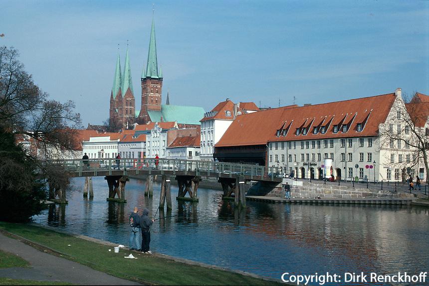 Deutschland, Lübeck, Obertrave, St. Petri, St. Marien, Unesco-Weltkulturerbe