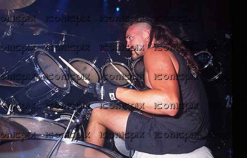 Slayer - drummer John Dette - performing live on the Undisputed Attitude Tour at the Academy in Brixton London - 07 Jul 1996.  Photo credit: PG Brunelli/IconicPix