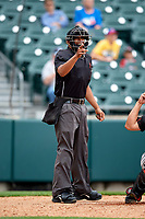 Umpire Erich Bacchus calls a strike during an International League game between the Indianapolis Indians and Buffalo Bisons on June 20, 2019 at Sahlen Field in Buffalo, New York.  Buffalo defeated Indianapolis 11-8  (Mike Janes/Four Seam Images)