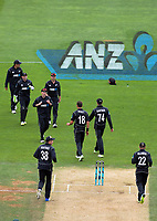 The Black Caps celebrate the dismissal of Shadab Khan during the One Day International cricket match between the NZ Black Caps and Pakistan at the Basin Reserve in Wellington, New Zealand on Saturday, 6 January 2018. Photo: Dave Lintott / lintottphoto.co.nz