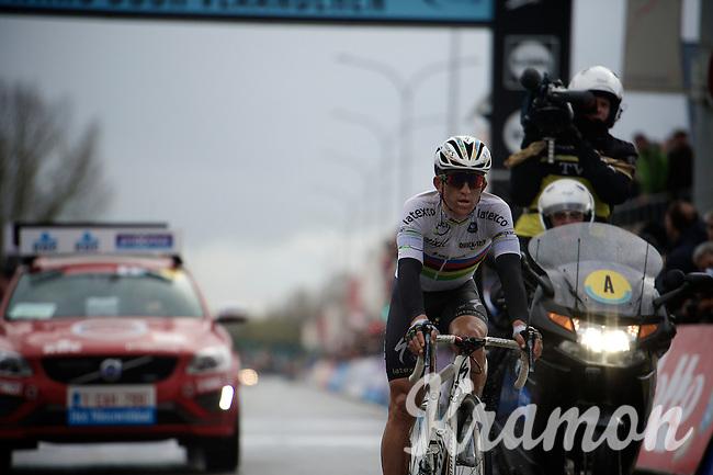 World Champion Michal Kwiatkowski (POL/Ettix-Quickstep) crossing the finish line 4th<br /> <br /> 70th Dwars Door Vlaanderen 2015