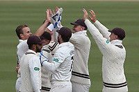 Tom Curran of Surrey celebrates taking the wicket of Alastair Cook during Surrey CCC vs Essex CCC, Specsavers County Championship Division 1 Cricket at the Kia Oval on 12th April 2019