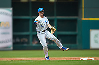 Trey Dawson (2) of the Kentucky Wildcats makes a throw to first base against the Sam Houston State Bearkats during game four of the 2018 Shriners Hospitals for Children College Classic at Minute Maid Park on March 3, 2018 in Houston, Texas. The Wildcats defeated the Bearkats 7-2.  (Brian Westerholt/Four Seam Images)