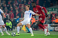 LIVERPOOL, GREAT BRITAN - NOVEMBER 5 : Divock Origi forward of Liverpool battles for the ball with Patrik Hrosovsky midfielder of Genk during the UEFA Champions League match between Liverpool FC and KRC Genk on November 05, 2019 in Liverpool, Great Britan, 5/11/2019 <br /> Liverpool 5-11-2019 Anfield <br /> Liverpool - Genk <br /> Champions League 2019/2020<br /> Foto Photonews / Panoramic / Insidefoto <br /> Italy Only
