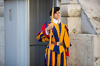 A member of the Swiss Guard watches a checkpoint outside of St. Peter's Basilica during a tour of the Vatican on Thursday, Sept. 24, 2015. (Photo by James Brosher)