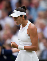 Garbine Muguruza (14) of Spain celebrates a point against Venus Williams of United States in their Ladies' Singles Final today - Muguruza def Williams 7-5, 6-0<br /> <br /> Photographer Ashley Western/CameraSport<br /> <br /> Wimbledon Lawn Tennis Championships - Day 12 - Saturday 15th July 2017 -  All England Lawn Tennis and Croquet Club - Wimbledon - London - England<br /> <br /> World Copyright &not;&copy; 2017 CameraSport. All rights reserved. 43 Linden Ave. Countesthorpe. Leicester. England. LE8 5PG - Tel: +44 (0) 116 277 4147 - admin@camerasport.com - www.camerasport.com