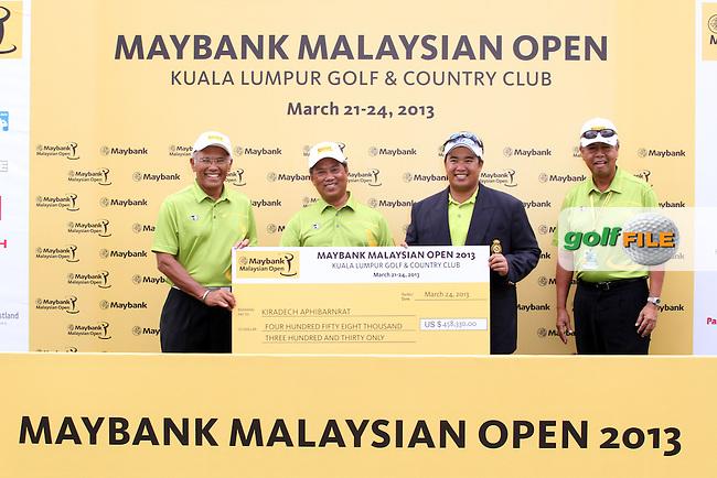 The Winner Kiradech Aphibarnrat (THA) during the Presentation for the 2013 Maybank Malaysian Open, Kuala Lumpur Golf and Country Club, Kuala Lumpur, Malaysia 24/3/13...(Photo Jenny Matthews/www.golffile.ie)