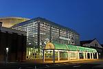July 25, 2008 - Garden City, New York, U.S. - Cradle of Aviation Museum facade at night, on Long Island.