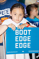 Children wait to meet South Bend mayor and Democratic presidential candidate Pete Buttigieg after he spoke at the Political Soapbox at the Iowa State Fair in Des Moines, Iowa, on Tues., Aug. 13, 2019.