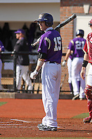 James Madison University outfielder Johnny Bladel #15 at bat during a game against the Boston College Eagles at Watson Stadium at Vrooman Field on February 18, 2012 in Conway, SC.  Boston College defeated James Madison 8-5.  (Robert Gurganus/Four Seam Images)
