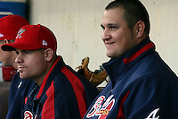 April 15th 2008:  Pitcher Chuck James (left) and Jo-Jo Reyes (right) of the Richmond Braves, Class-AAA affiliate of the Atlanta Braves, during a game at Frontier Field in Rochester, NY.  Photo by:  Mike Janes/Four Seam Images