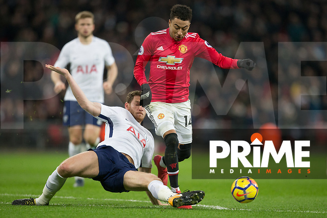 Jan Vertonghen of Spurs & Jesse Lingard of Man Utd during the Premier League match between Tottenham Hotspur and Manchester United at Wembley Stadium, London, England on 31 January 2018. Photo by Andy Rowland.