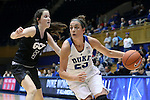 17 November 2016: Duke's Rebecca Greenwell (23) and Grand Canyon's Jessica Gajewski (AUS) (5). The Duke University Blue Devils hosted the Grand Canyon University Antelopes at Cameron Indoor Stadium in Durham, North Carolina in a 2016-17 NCAA Division I Women's Basketball game. Duke won the game 90-47.