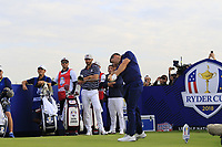 Rory McIlroy Team Europe tees off the 9th tee during Friday's Fourball Matches at the 2018 Ryder Cup, Le Golf National, Iles-de-France, France. 28/09/2018.<br /> Picture Eoin Clarke / Golffile.ie<br /> <br /> All photo usage must carry mandatory copyright credit (© Golffile | Eoin Clarke)