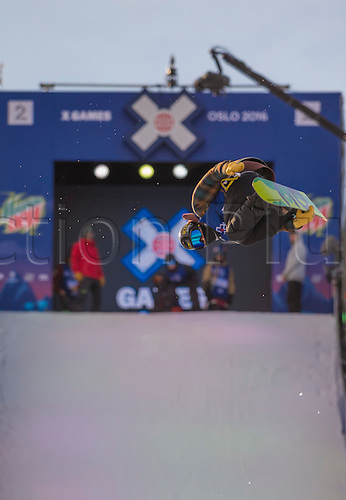 26.02.2016. Wyller Oslo Winter Park, Oslo, Norway. Red Bull X Games. Mens Snowboard Big Air  Round 1.  Kyle Mack of of United States competes in the men's Snowboard Big Air Elimination   during the X Games Oslo 2016 at the Wyller Oslo winter park in Oslo, Norway.