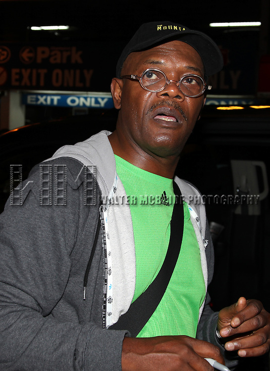 Samuel L. Jackson.greeting fans after the first preview performance of 'The Mountaintop' at the Jacobs Theatre in New York City.