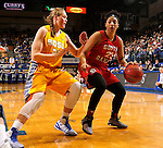 BROOKINGS, SD - FEBRUARY 21:  Raeshel Contreras #23 from the University of South Dakota tries to drive against the defense of Clarissa Ober #21 from South Dakota State in the first half of their game Saturday evening at Frost Arena in Brookings. (Photo by Dave Eggen/Inertia)