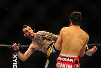 Oct. 29, 2011; Las Vegas, NV, USA; UFC fighter George Roop (left) against Hatsu Hioki during UFC 137 at the Mandalay Bay event center. Mandatory Credit: Mark J. Rebilas-