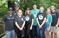 NWA Democrat-Gazette/CARIN SCHOPPMEYER Sean Morrison (from left), Kevin Jamieson, Ally Morrison, Dana Holroyd, Jack and Kaitlyn Shuffield and Bri and Casey Jones attend Gardens on Tap on Oct. 5 at Compton Gardens and Conference Center in Bentonville.