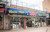 Uncle Moo's 99 cent store in the Bronx borough of New York is seen on Saturday, July 26, 2014.  (© Richard B. Levine)