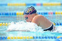 14 January 2012:  FIU's Elly James competes in the 200 yard breaststroke as the FIU Golden Panthers won the meet with the Central Connecticut State University Blue Devils at the Biscayne Bay Campus Aquatics Center in Miami, Florida.