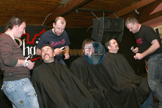 James Fay, Peter Smith and Ciaran Grennan say goodbye to their facial hair on the last Day of the Moustache, Goatee and other facial hair growing in aid of SOSAD...Photo NEWSFILE/Jenny Matthews.(Photo credit should read Jenny Matthews/NEWSFILE)....This Picture has been sent you under the condtions enclosed by:.Newsfile Ltd..The Studio,.Millmount Abbey,.Drogheda,.Co Meath..Ireland..Tel: +353(0)41-9871240.Fax: +353(0)41-9871260.GSM: +353(0)86-2500958.email: pictures@newsfile.ie.www.newsfile.ie.FTP: 193.120.102.198.