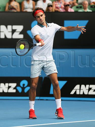 18.01.2014. Melbourne, Australia. Australian Open 2014, Melbourne Park,ITF Grand Slam Tennis Tournament. Australian Open 2014, Melbourne Park,ITF Grand Slam Tennis Tournament . Roger Federer (SUI)