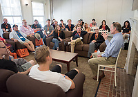 Occidental College alumni, students and their families listen to professor Dale Wright as part of Oxy's Best of the Best during Family Weekend & Homecoming, Oct. 22, 2016 in the Morrison Lounge of the JSC.<br />