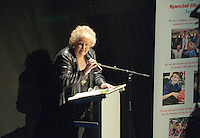 """Sue Frett, County Secretary for Special Olympics Surrey, welcoming eveyone to the show.   Special Olympics Surrey put on a show,   """"Beyond the Stars"""", at the Rose Theatre, Kingston upon Thames to raise money for the  SOGB team.  The Special Olympics are for athletes with learning disabilities."""