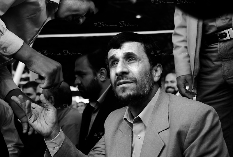 Teheran, Iran, April 6, 2007.As Iranian President Mahmoud Ahmadinejad is attending the Friday prayer at the University of Teheran, common Iranian worshippers come to him to congratulate him or ask him requests.